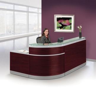 "Esquire Glass Top Reception Desk - 95""W x 64""D, 76239"