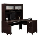 Computer L-Desk with Right Return and Hutch, CD07558