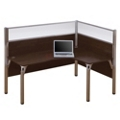 "Right L-Desk with Two 55.5""H Acrylic Privacy Panels, 13213"