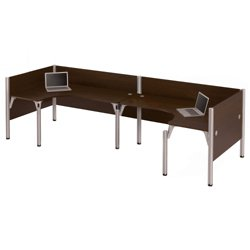 Back to Back L-Shaped Desk with Privacy Panels