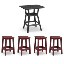 Square Bistro Table with Four Stools, 86226