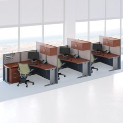 Three Person L Desk Workstation Set and more