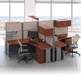 Four-Person L-Desk Workstation Set, 75489