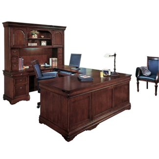 U-Desk with Curio Hutch and Left Return, 11996
