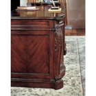 Gorgeous desk detail. Fluted Pilasters feature leaf accents.