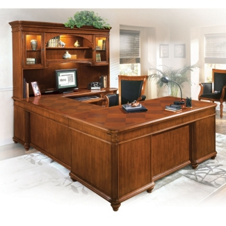 U-Desk with Right Bridge and Hutch, 13384