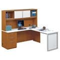 "Glass Panel L-Desk with Hutch - 72"", 13715"