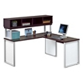 "Glass Panel Compact L-Desk with Hutch - 66"", 13716"