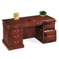 "Traditional English Cherry Executive Desk - 66"" x 30"", 15058"