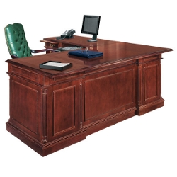 English Cherry Executive L-Desk with Left Return, 15065