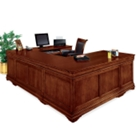 Chocolate Patina U-Desk with Right Bridge, 15146