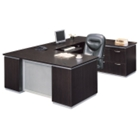 Executive U-Desk with Right Bridge and Personal File Credenza, 15459