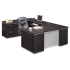 Executive U-Desk with Left Bridge and Personal File Credenza, 15460