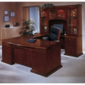 Bow Front U-Shape Desk with Right Return and Hutch, 15817