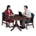"Traditional Mahogany Round Conference Table - 48"" Diameter, 40567"