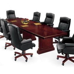 "English Cherry Traditional Boat Shape Conference Table - 120"" x  48"", 40616"