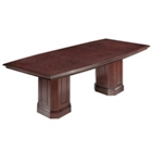 8' Boat Shape Conference Table with Pedestal Bases, 40899