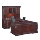 Old-World Left Bridge U-Desk with Hutch, 13101