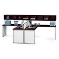 """Two Glass Panel Compact L-Desks with Hutches - 66""""W, 86026"""