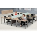 At Work Six Person Compact L-Desk Set in Warm Ash, 13899