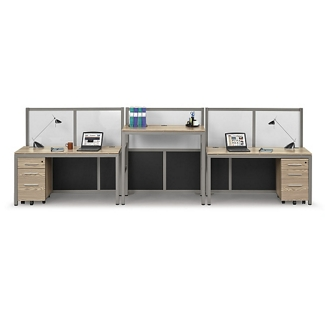 At Work Two Person Station with Dividers, 13974
