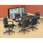 "72"" x 30"" Conference Table with Chairs & Storage Cabinets with Glass Doors, 41547"