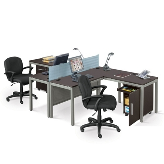 At Work Two Person Complete Compact Office, 13308