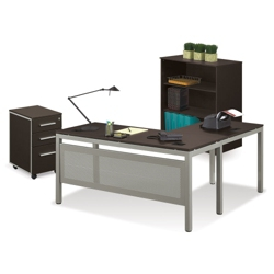 At Work Compact L-Desk with Mobile Pedestal and Bookcase Set, 13455