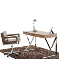Retro Office Desk with Polished Stainless Steel Frame, 14301