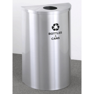 Satin Aluminum Half Round Bottles and Cans Receptacle with Steel Liner, 87173