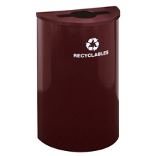 Half Round Mixed Recycling Receptacle with Steel Liner, 87174