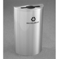 Satin Aluminum Half Round Mixed Recycling Receptacle with Steel Liner, 87176