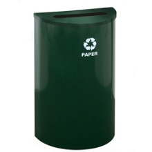 Half Round Paper Recycling Receptacle with Steel Liner, 87177