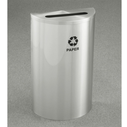 Satin Aluminum Half Round Paper Recycling Receptacle with Steel Liner, 87179
