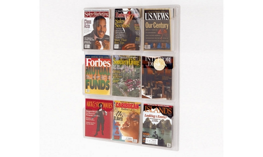 Clear Plastic Nine Pocket Magazine Rack, 33128