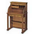 "Solid Wood Compact Roll Top Writing Desk - 29""W x 22""D, 13286"