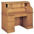 "Double Pedestal Solid Wood Roll Top Desk - 54""W x 29""D, 13290"