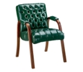 Traditional Leather Guest Chair with Arms, 55211