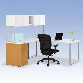 HON Voi L-Desk with Hutch, 13375