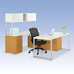 HON Voi U-Desk with Hutch and Storage, 13377