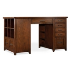 "Double Bookcase Pedestal Partner Desk - 62""W x 36""D x 37""H, 13545"