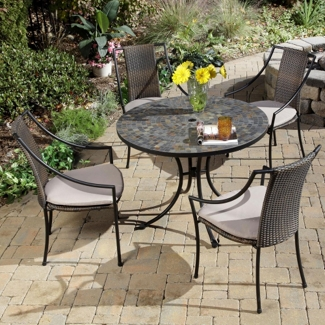 Five Piece Outdoor Patio Set with Slope Arm Chairs, 85194