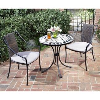 Three Piece Marble Tile Outdoor Patio Set with Slope Arm Chairs, 85204