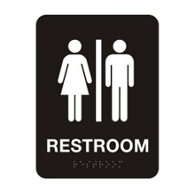 "Unisex Restroom Sign - 6""W x 8""H, 25670"