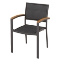 Outdoor Wicker and Teak Chair, 91687