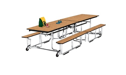 Cafeteria Table 12' Long with Bench Seating, 44720