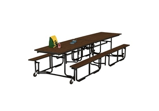 Cafeteria Table 8' long with Bench Seating, 44718