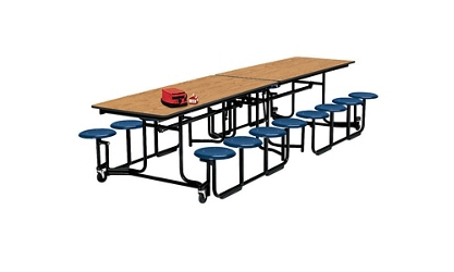 12' Long Cafeteria Table with 16 Stools with Black Edge and Frame, 44272