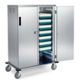 """33""""W x 27""""D Compact Enclosed 10 Tray Delivery Cart with One Door, 25307"""