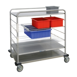 """44""""H Stainless Steel Multi-Use Wire Open Case Cart, 25309"""